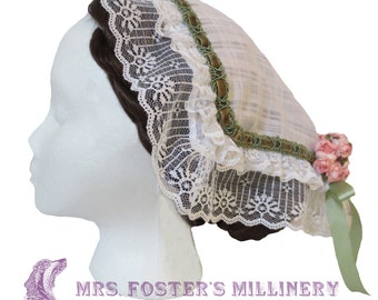 White Lace Victorian Day Cap