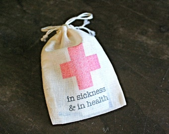 Wedding favor bags, muslin, 2x4. Set of 10. DIY First Aid Kit for wedding guests.  In Sickness and In Health.