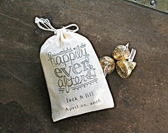 Wedding favor bags, set of 50 personalized muslin bags. Happily ever after with names and wedding date. Bridal shower, party favor bags.