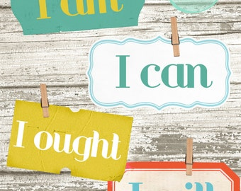 Charlotte Mason I Am, I Can, I Ought, I Will--1 large Print, 4 small prints--muted Colors