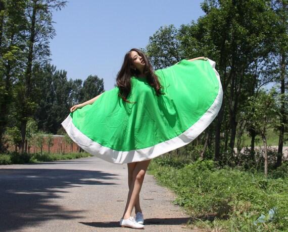chiffon maxi dress--loose dress  beach dress  shawl  dress green dress cape dress  goddess dress,