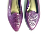 Purple Leather Flats 9 - Embossed Floral Slip On Loafers 9