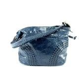 Woven Leather Bucket Bag - Navy Leather Satchel - Woven Cinch Shoulder Bag