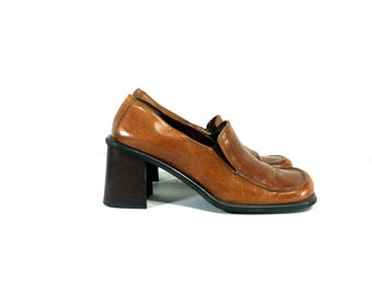 Italian Leather Chunk Heel Loafers 9 - Preppy Slip On Mules 9