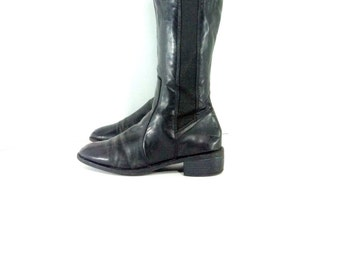 Knee High Riding Boots 8 - Tall Black Chelsea Boots 8 - Equestrian Boots 8