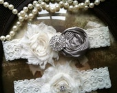Wedding Garter - Grey - Gray Garter - Ivory Lace Garter Set - Bridal Garter - Vintage Garter - Prom Garter- Toss Garter - Rhinestone - Pearl