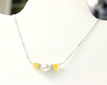 SALE Yellow Bridesmaid Necklace - Yellow Necklace - Sunny Yellow and White Pearl Necklace - Wire Wrapped Wedding Jewelry