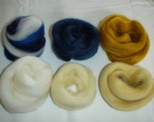 Soft Merino Wool Tops in Blue Mix, Indigo, Golden Brown, White, Eggshell White and Wheat Yellow colors - 40 g