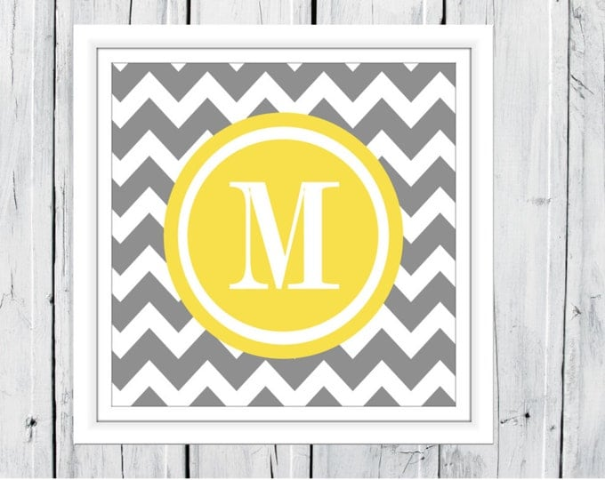 Monogram Print - Chevron Background - Nursery Decor - Custom Colors & Sizes