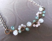 Fertility Necklace- Tree of Life Branch in Moonstone, Rose Quartz, Aventurine, and Aquamarine, Conception, Birth