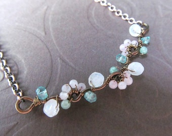 Fertility Necklace- Tree of Life Branch in Moonstone, Rose Quartz, Aventurine, and Aquamarine, Conception, Birth
