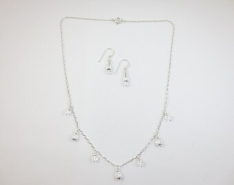 7 Drop - Swarovski Crystal - Necklace & Earrings - Sterling Silver