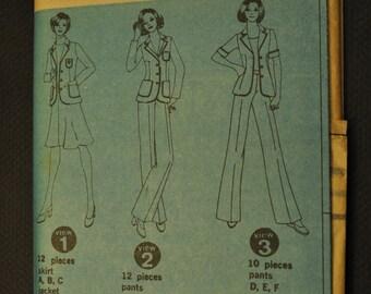 Misses' Jacket, Skirt, & Pants 1970s UNCUT Sewing Pattern Simplicity 6876 Size 16