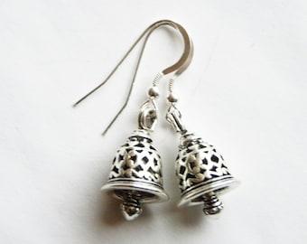 Silver bell earrings, Easter bells, Christmas bell earrings, Easter earrings, holiday earrings
