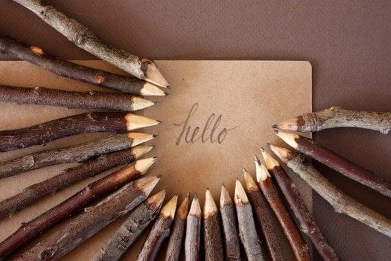 Twig Pencils, Bundle of 5 Rustic Wooden Pencils - Made in Australia