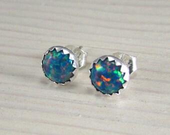 Opal Stud Earrings - Sterling Silver Posts - October birthstone