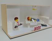 Dexter Lego Diorama Box with 2 Lego Minifigures.