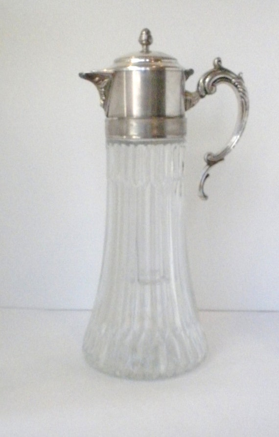 Vintage Cut Glass Wine Cooler Decanter Silver Plated By