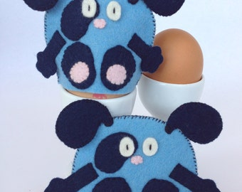 Egg Cosy Wool Felt Dog Pair Blue