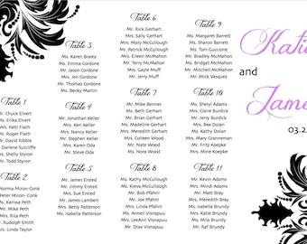 Damask Wedding Seating Chart with Bride & Groom Names