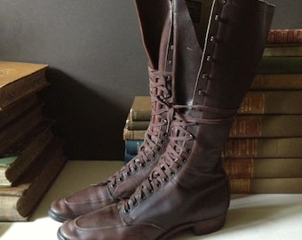 Antique Chippewa Brown Leather Victorian Granny Boots // Size 8