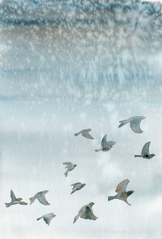 Watercolor bird painting, giclee print - Birds flying in a blue gray winter sky - Fine art reproduction