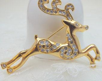 Beautiful Reindeer Rhinestone Goldtone Brooch Pin for Christmas
