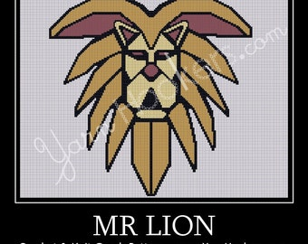 Mr. Lion - Afghan Crochet Graph Pattern Chart - Instant Download