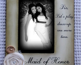 Maid of Honor Gifts, Bridesmaids gifts, Picture Frame Keepsake 4x6 Gift Personalized Flowers Colors Diamonds Pearls