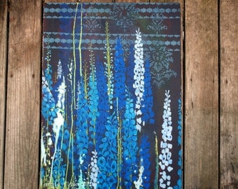 "Archival Print of Original Mixed Media ""Delphinium Field"""