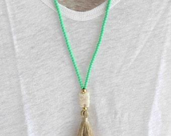 Mint Beaded Necklace- Pastel mint tassel necklace - Beige tassel necklace - Long Summer Necklace - Bohemian Necklace