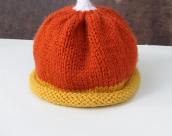 Candy Corn Hat Newborn Photo Prop - Ready to Ship Baby Photography Prop Halloween Baby Hat - Autumn Baby Hat - Fall Baby Photo Prop