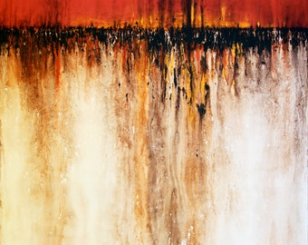 Fire in the Field, Original Acrylic on Canvas, 48 x 36.