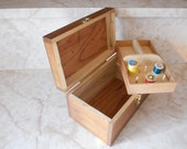 Handmade Wooden Sewing Box with Handle