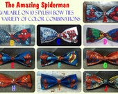 BowTies Made From Marvel Comics Spiderman Fabric - Take Your Pick From 10 AMAZING and SPECTACULAR HAND-Sewn Bow Ties - U.S.SHIPPlNG 1.49