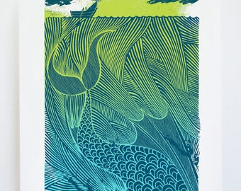 The Sea Monster - Original screenprint - Fairy tales - Water based inks - Limited edition