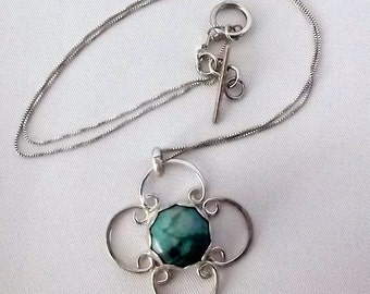 Sterling Stone Necklace Blue and Green~ Artisan Crafted~ Unique
