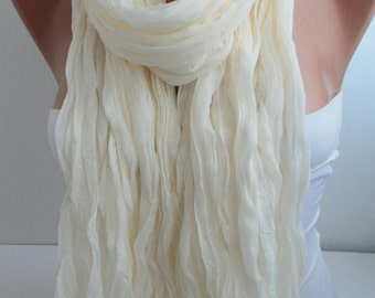 NEW Creamy ivory Crinkle Cotton Scarf Solid Color Scarf Fashion Women Accessories