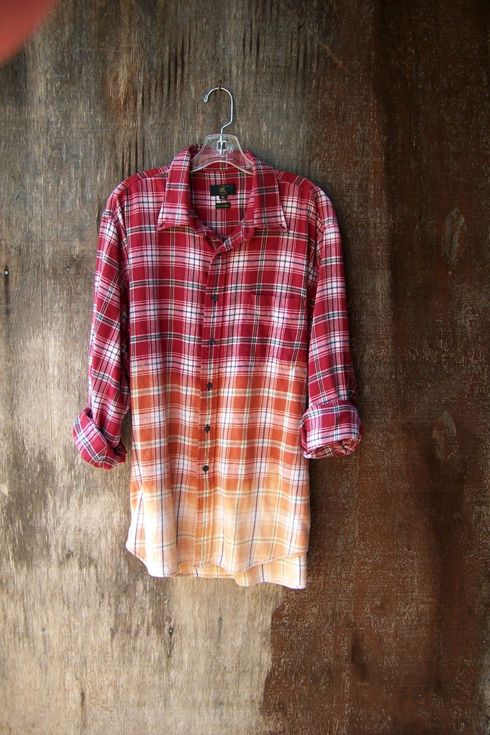 Ombre half bleached grunge flannel shirt red plaid dip dye for How to dye a shirt red