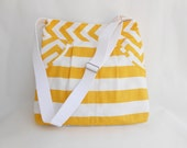 Yellow and White Stripe Tote Bag Messenger Bag Shoulder Bag