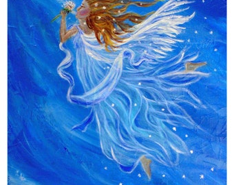 Wind Angel-Original 8 x 10 Fine Art Modern Print, Acrylic Blue Elemental Wind Angel, Inspirational, Motivational-Wall Art-Creative
