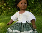 """18 inch Gown Civil War Style Doll Day gown in Green and White for your american girl doll or other 18"""" Dolls"""