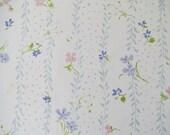 Vintage Sheet Fabric Fat Quarter - Blue and Purple Floral Stripe