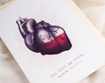 You Fill My Black Heart // Funny Love Card // Anatomical Heart // Dark Love // Cheeky Love Card // Twisted Valentine