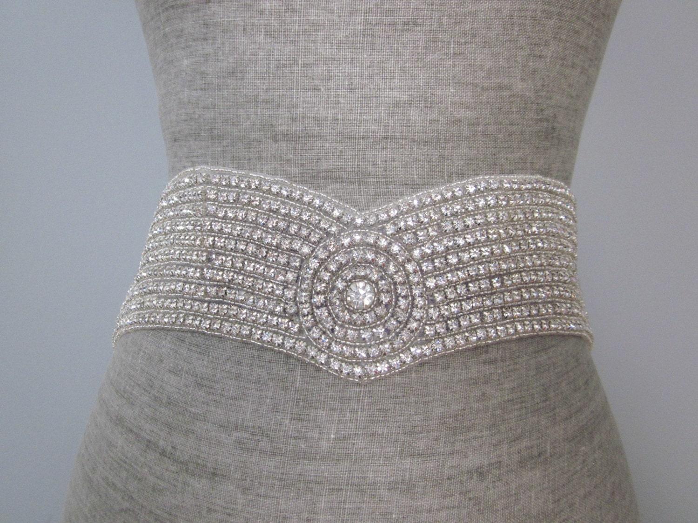sparkling wide rhinestone sash belt vintage v shape