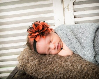15% Off..Baby Headband..Baby Flower Headband..Halloween Headband..Infant Headbands..Flower Headbands..Baby  Bow..Black and Orange Head Band