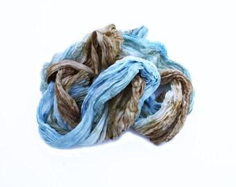Morning in Paris -  blue, sky blue, turquoise, cream, ecru, brown silk ruffled scarf.