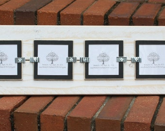 Picture Frame with Wire Flowers - Holds 4 - 3x3 Pictures - Distressed Wood - White & Black