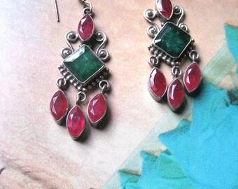 Indian Dangle Zirconia Earrings. Green, Fuchsia. Sterling Silver. Ethnic Gemstone Jewelry