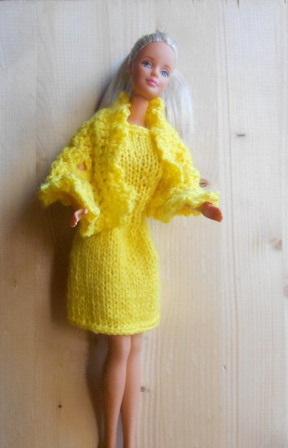 Abito per barbie vestito e scialle per barbie lavorati ai - Barbie senza colore ...